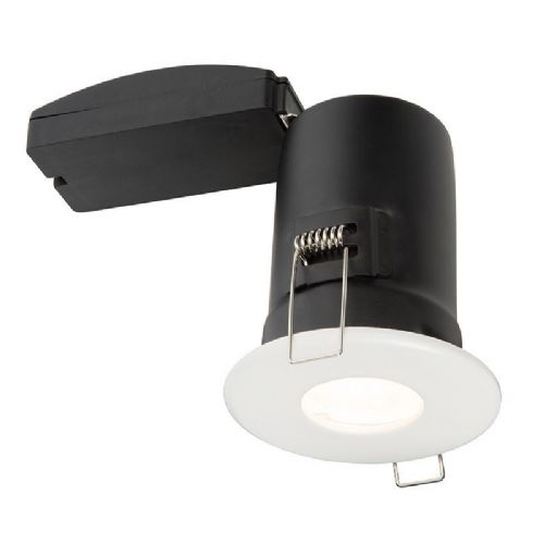 Matt white paint & clear glass Fixed Recessed IP65 Bathroom Light 61061 by Endon